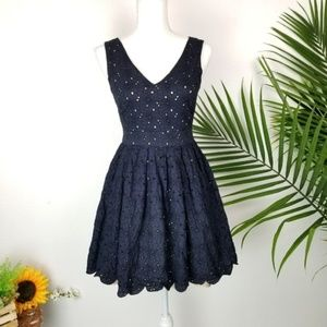 Karl Lagerfeld Floral Navy Fit and Flare Dress